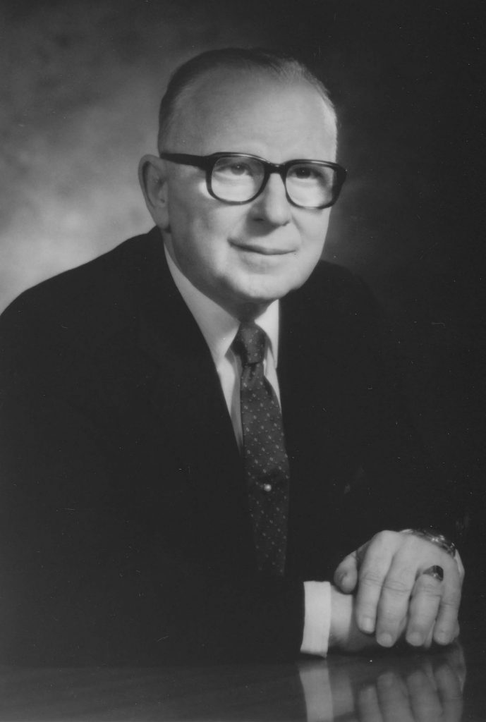 Rolf A. Weil, then Dean of the College of Business Administration, is appointed acting president in 1965 and Roosevelt's third president in 1967, a position he holds until his retirement in 1988.