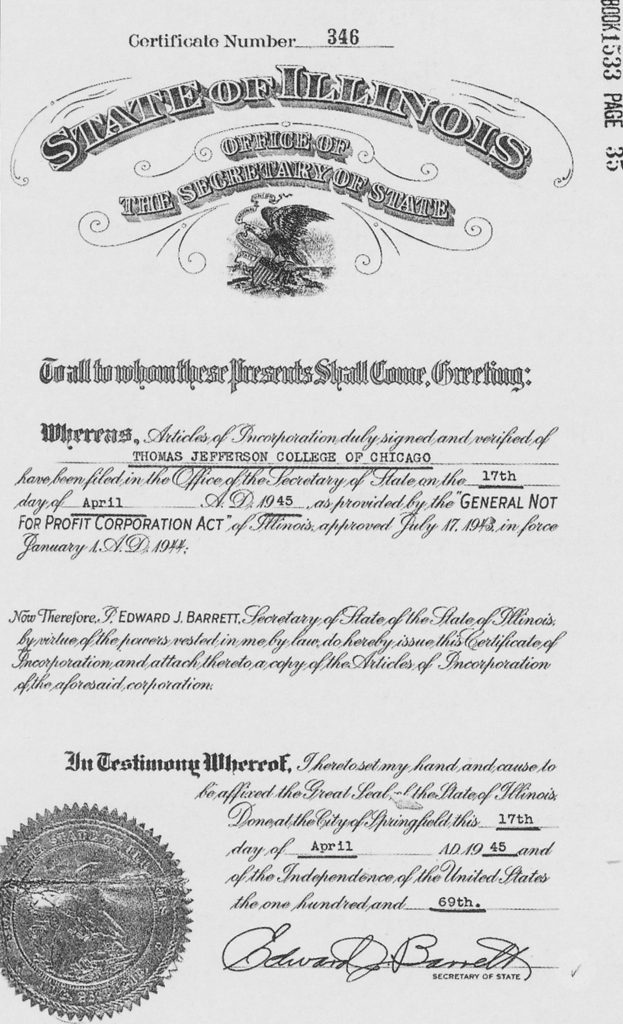 Thomas Jefferson College of Chicago articles of incorporation, provided by the general not for profit corporation act.