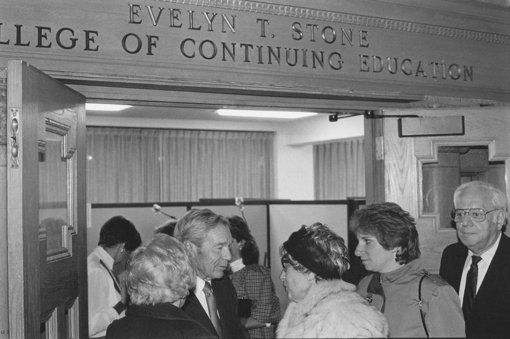 The Division of Continuing Education becomes the College of Continuing Education in 1966, featuring an innovative Bachelor of General Studies degree program for adults. It is named the Evelyn T. Stone College of Continuing Education in 1985, and renamed the College of Professional Studies in 2007.